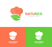 Chef and leaf logo combination. Kitchen and eco symbol or icon. Unique organic cook and restaurant logotype design. Logo or icon design element for companies Royalty Free Stock Image