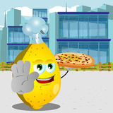 Chef lemon with pizza holding a stop sign in the city Royalty Free Stock Images