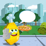 Chef lemon with pizza holding a stop sign in the city park with speech bubble Stock Photo