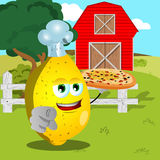 Chef lemon with pizza pointing at viewer on a farm Royalty Free Stock Photos