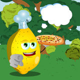 Chef lemon with pizza pointing at viewer in the forest with speech bubble Royalty Free Stock Photography