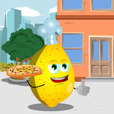 Chef lemon with pizza showing thumb up in the city Royalty Free Stock Photo