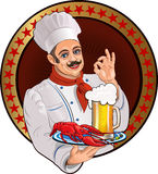 Chef Lobster and beer Royalty Free Stock Image