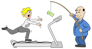 Chef lockt einen Angestellten mit Geld an Stockfoto
