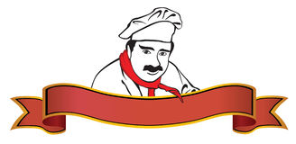 Chef logo with banner Stock Image