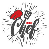 Chef logo. Lettering Hand lettering with a cap chef. Hipster style and rays. Symbol icon logo design. Stock Images