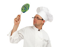 Chef  with lollipop Royalty Free Stock Photo
