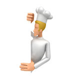 Chef looking at a blank board on the side Stock Photo