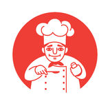 Chef looking friendly. Vector illustration of a male chef with a red neckerchief  holding a spoon and a salt shaker in his hands, looking friendly and smiling Royalty Free Stock Images
