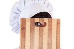 Chef looking with one eye Stock Photos