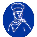 Chef Looking to Side Glowing Neon Sign. Retro style illustration showing a 1990s glowing neon sign light signage lighting of a chef, baker or cook wearing hat stock illustration
