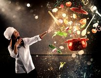 Magic chef ready to cook a new dish. Chef looks enchanted the ingredients ready to cook a new dish Royalty Free Stock Photos