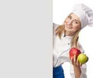 Chef looks out gray board in the studio Stock Photo