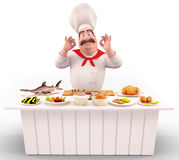 Chef with lots of meat and fish on the table Royalty Free Stock Image