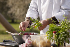 Chef makes beetroot salad. With organic parsley. Outdoors stock photo