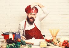 Chef makes dough. Professional cookery concept. Man with beard plays with flour on white brick background. Cook with. Cheerful face in burgundy uniform sits by royalty free stock photos
