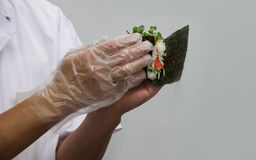 Chef makes the traditional japanese rolls (12) Royalty Free Stock Image