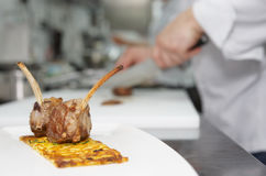 Chef is making appetizer Royalty Free Stock Image
