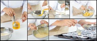 Chef making banana cake Royalty Free Stock Image
