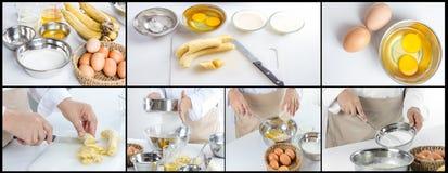 Chef making banana cake Stock Image
