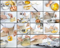 Chef making banana cake Royalty Free Stock Photography