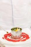 Chef making carpaccio Royalty Free Stock Image