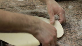 Chef Making Pizza Dough. Royalty Free Stock Photo