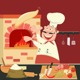 Chef is Making Pizza in the Furnace. Pizzeria Kitchen. Stock Image