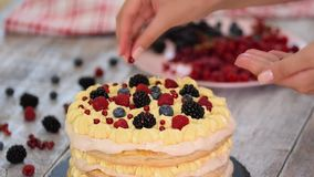 Chef making puff pastry cake with custard and currant berries, raspberries, blackberries, blueberries. Delicious dessert stock video