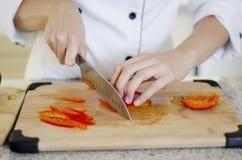 Chef making a salad Royalty Free Stock Photos