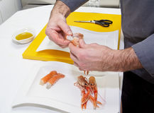 Chef is making seafood appetizer Royalty Free Stock Image