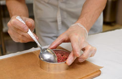 Chef is making a tartare Royalty Free Stock Image
