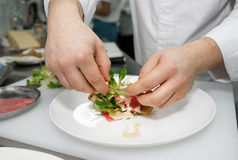 Chef is making tuna appetizer Royalty Free Stock Image