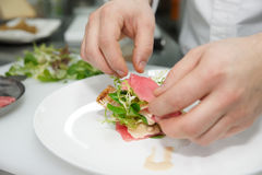 Chef is making tuna appetizer Royalty Free Stock Photo