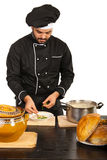 Chef male garnish soup Stock Photos