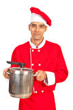 Chef male holding inox pot Stock Photography