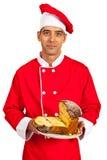 Chef male holding sponge cake Royalty Free Stock Photo