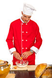 Chef male making dough Royalty Free Stock Photo