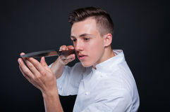 Chef male portrait with his knife Royalty Free Stock Photo