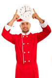 Chef male showing clock royalty free stock photos