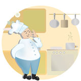 Chef. Man in cooker uniform  Ok sign Royalty Free Stock Images