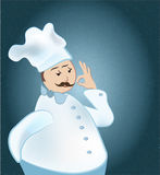 Chef. Man cooker uniform showing Ok sign Royalty Free Stock Images