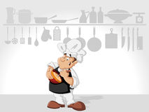 Chef man cooking. Delicious meal in restaurant kitchen. Gourmet food Stock Image