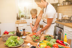 Chef man cooking on the kitchen with little son. Stock Image