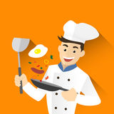 Chef man flying. Pan.Cute Character vector illustration Royalty Free Stock Image