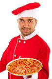 Chef man giving you pizza Royalty Free Stock Photos