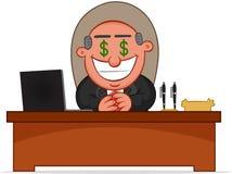 Chef-Man Greedy With-Geld-Augen Lizenzfreies Stockfoto