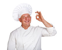 Chef man isolated over white background. Stock Photos