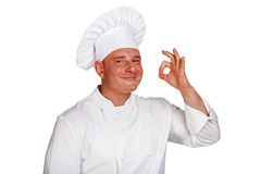 Chef man isolated over white background. Royalty Free Stock Photos