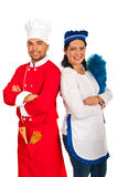 Chef man and maid woman Royalty Free Stock Image